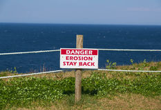Erosion Stay Back Sign Stock Images