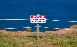 Erosion Stay Back Sign Royalty Free Stock Photo
