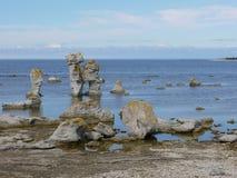 Erosion of the Swedish coast of the island Faro Stock Photography
