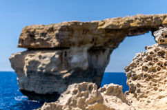 Erosione della roccia da Azure Window in Gozo, Immagini Stock