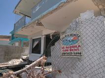 Erosione idrica dopo l'uragano Maria Rincon Puerto Rico fotografie stock libere da diritti