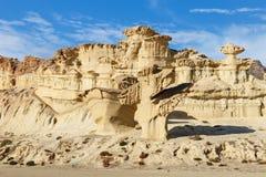 Erosions of sandstone at Bolnuevo Enchanted City in Mazarron. Mu royalty free stock images