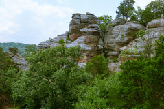 Erosive rocks in the Garden of the Gods of Southern Illinois, US Royalty Free Stock Photography