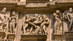 Erotic bas-reliefs found on the walls of temples i Royalty Free Stock Image