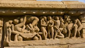 Erotic bas-reliefs found on the walls of temples i Royalty Free Stock Photos