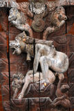 Erotic carving on a temple in Patan, Kathmandu, Nepal Stock Photography