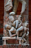 Erotic carving on a temple in Patan, Kathmandu, Nepal Stock Images