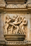 Erotic Carvings - Khajuraho - India Stock Image
