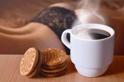 Erotic coffee break stock image