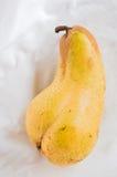 Erotic pear. Lying on white cloth stock image