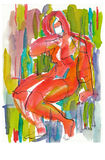 Erotic´s woman pose, no.3. Hand drawing picture, stylize woman´s figure, red erotic picture Royalty Free Stock Image