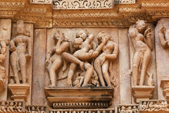 Erotic sculptures, Khajuraho, India Stock Photo