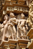 Erotic sculptures in Khajuraho Temple Group of Monuments in India royalty free stock photography
