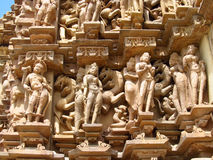 Erotic sculptures in Khajuraho Temple Group of Monuments in India Royalty Free Stock Images
