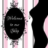 Erotic shop banner, sex shop, adult banner with sexy womans body silhouette and decorative frame. Vector illustration Royalty Free Stock Images