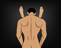 Erotic spin vector men with women's feet on his shoulders Royalty Free Stock Images
