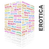 EROTICA. Background concept wordcloud illustration. Print concept word cloud. Graphic collage Stock Images