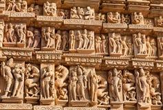 erotiskt berömdt india khajurahotempel Fotografering för Bildbyråer