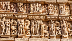 erotiskt berömdt india khajurahotempel Royaltyfri Bild
