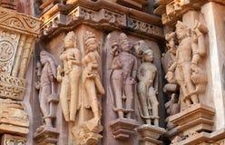 erotiskt berömdt india khajurahotempel Arkivfoton
