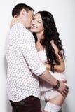 Erotism. Libidinous Flirty Couple Gently Embracing Together Royalty Free Stock Photo