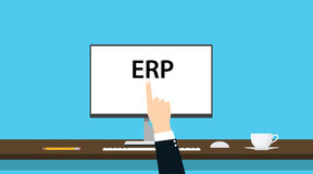 Erp企业资源与计算机和手的计划概念 免版税库存照片