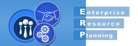 ERP蓝色横幅 免版税库存照片