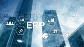 ERP系统,企业在被弄脏的背景的资源计划 企业自动化和创新概念 皇族释放例证