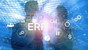 ERP系统,企业在被弄脏的背景的资源计划 企业自动化和创新概念 库存例证