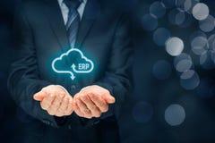 ERP as cloud service. Enterprise resource planning ERP as cloud service concept. Businessman offer ERP business management software as cloud computing service Royalty Free Stock Photos