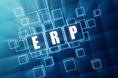 ERP in blauwe glaskubussen - bedrijfsconcept Royalty-vrije Stock Afbeelding