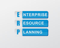 ERP in blue blocks, flat design. ERP - enterprise resource planning - text in blue banners, flat design, business systems concept Stock Image