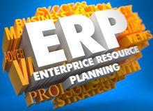 ERP. Business Concept. ERP - Enterprise Resource Planning. The Word in White Color on Cloud of Yellow Words on Blue Background Royalty Free Stock Photo