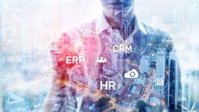 ERP, Business innovation concept on blurred background.  stock illustration