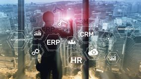 ERP, Business innovation concept on blurred background. royalty free stock photography
