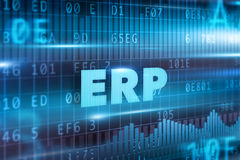 ERP concept. Blue background and blue text Stock Image