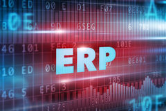 ERP concept. Blue background and blue text Royalty Free Stock Photos