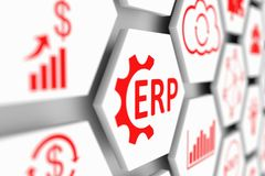 ERP concept. Cell blurred background 3d illustration Royalty Free Stock Photography