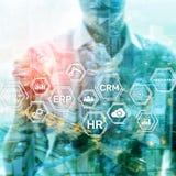 ERP, concept d'innovation d'affaires sur le fond brouillé illustration libre de droits