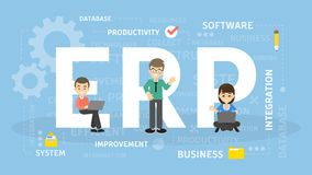 ERP concept illustration. Idea of productivity and improvement Royalty Free Stock Photo