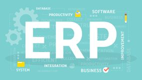 ERP concept illustration. Idea of productivity and improvement Stock Photography