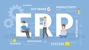 ERP concept illustration. Idea of productivity and improvement Stock Photos