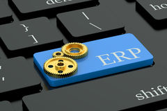ERP concept on keyboard button Stock Photos