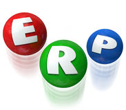 ERP Eneterprise Resource Planning Application Software. ERP letters on three balls being juggled to illustrate Enterprise Resource Planning software or Stock Photos
