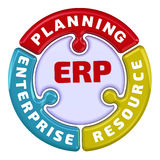 ERP. Enterprise resource planning. The check mark in the form of a puzzle. The inscription `ERP. Enterprise resource planning` on the puzzle in the shape of a Stock Images
