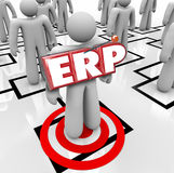 ERP Enterprise Resource Planning Company Business Program Softwa. ERP acronym letters on a worker on an org chart to illustrate Enterprise Resource Planning for Royalty Free Stock Photos