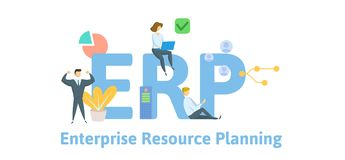 ERP, enterprise resource planning. Concept with keywords, letters and icons. Flat vector illustration. Isolated on white vector illustration