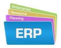 ERP - Enterprise Resource Planning Text Colorful Squares Stack. ERP - enterprise resource planning text written over blue colorful background vector illustration
