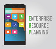 Erp - enterprise resource planning. To increase productivity and management for company stock illustration