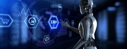 Free ERP Enterprise Resources Planning. Robot Pressing Button On Screen 3d Render Stock Images - 217016264